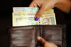 Indian currency notes in a wallet Royalty Free Stock Photo