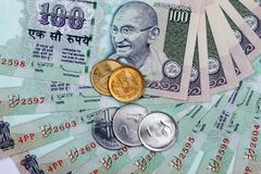 Indian Currency Rupee. Notes and Coins Stock Photo