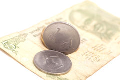 Indian Currency Rupee Notes and Coins Royalty Free Stock Photos