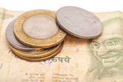 Indian Currency Rupee Notes and Coins Stock Photo