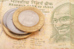 Indian Currency Rupee Notes and Coins Royalty Free Stock Images