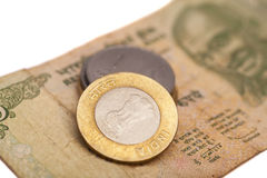 Indian Currency Rupee Notes and Coins Royalty Free Stock Photo