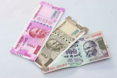 Indian currency of 100, 500 and 2000 rupee notes. Royalty Free Stock Image