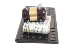 Indian Currency Rupee Notes and Law Gavel on computer keyboard. Isolated on white Royalty Free Stock Images