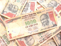 Indian Currency-Thousand Rupee Note. Background of many thousand rupees note Royalty Free Stock Images