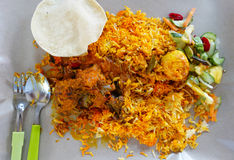 Indian Curry and Biriani Rice. Indian Meat Curry and Biriani Rice Stock Photo