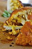 Indian curry cauliflower with mint sauce Royalty Free Stock Images