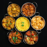 Indian Curry Dishes. Selection of Indian curries and rice Stock Image