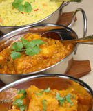Indian Curry Dishes. Selection of Indian curries in korai serving dishes Stock Images