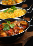Indian Curry Food. Selection of Indian curry dishes. Shallow DoF, selective focus on front of near curry Stock Photography