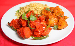 Indian Curry Food Meal Dinner. Chicken curry with rice and vegetables Royalty Free Stock Photography