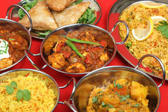 Indian Curry Food Selection. Selection of Indian curries in stainless steel serving dishes Stock Photos