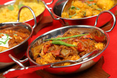 Indian Curry Meal. Selection of Indian curry dishes with rice Royalty Free Stock Photo