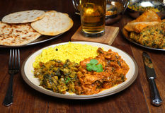 Indian Curry Meal Food on Table Royalty Free Stock Image
