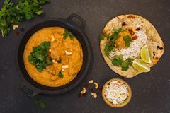 Indian lamb korma and rice. Indian curry meal, lamb korma with cashew nuts, rice and peshwari naan, top view, blank space Royalty Free Stock Photos