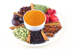 Indian curry powder. Variety of spices with curry powder Royalty Free Stock Photos