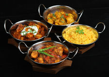 Indian Curry Selection. Selection of Indian curries with pilau rice. Shallow DoF Royalty Free Stock Photo