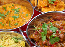 Indian Curry Selection. Selection of Indian curries with pilau rice Royalty Free Stock Photography