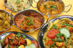 Indian Curry Selection. Selection of Indian curries in stainless steel balti dishes Stock Photography