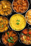 Indian Cusine, Curry & Rice. Variety of Indain curries and rice Royalty Free Stock Images