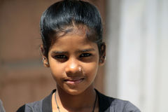 Indian cute small girl. Indian girl on the street in Jodhpur Royalty Free Stock Images