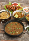 Indian Dal Makhani  with Pulav or Vegetable Pulao and Chana Masa Stock Photos
