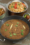 Indian Dal Makhani with Pulav or Vegetable Pulao and Chana Masal Stock Photo