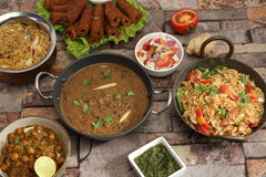 Indian Dal Makhani with Pulav or Vegetable Pulao and Chana Masal Stock Image