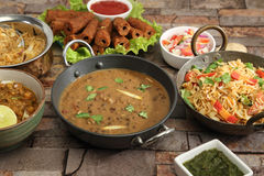 Indian Dal Makhani with Pulav or Vegetable Pulao and Chana Masal Royalty Free Stock Photo