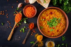 Indian dal. Traditional Indian soup lentils. Indian dal. Food. Traditional Indian soup lentils. Indian Dhal spicy curry in bowl,. Indian dal. Food. Traditional royalty free stock photography