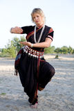 Indian dance. The woman dancer demonstrates Indian dance Stock Images