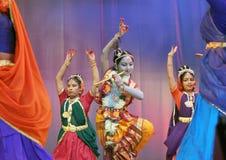 Indian dance -krishna with gopikas Royalty Free Stock Photo
