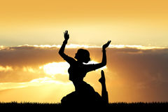 Indian dance at sunset Stock Photography