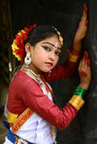 Indian  dancer girl. An adolescent Indian classical dancer girl with traditional dressings and ornaments Royalty Free Stock Photos