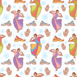 Indian dancer girl seamless pattern Stock Photos