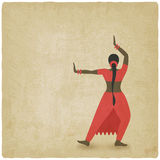 Indian dancer old background. dance club symbol Royalty Free Stock Photo