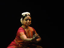 Indian dancer performs classical dance Royalty Free Stock Photo