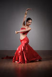 Indian dancer in red dress Royalty Free Stock Image