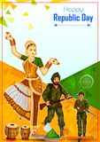 Indian dancer and soldier on 26th January, Happy Republic Day of India. In vector background Royalty Free Stock Images