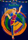 Indian dancer on 26th January, Happy Republic Day of India. In vector background Stock Photos