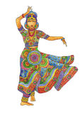 Indian dancer on a white background Stock Photography