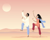 Indian dancers. An illustration of an asian man and woman in traditional clothing dancing under an exotic sunset sky Royalty Free Stock Photos