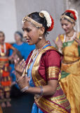 Indian dancers enjoying the procession Stock Images