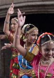 Indian dancers enjoying the procession Royalty Free Stock Image