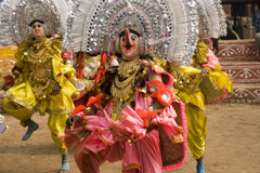 Indian dancers in masks and costume Stock Photos