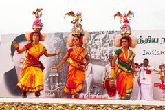 Indian dancers performing traditional southern indian dance Royalty Free Stock Image