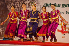 Indian dancers performing traditional southern indian dance Stock Image