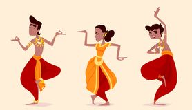 Indian dancers in the posture of Indian dance. Stock Photos