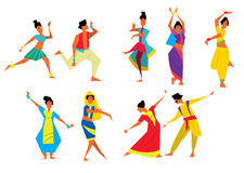 Indian dancers raster illustration Royalty Free Stock Photography