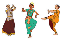 Indian dancers. Vector set of isolated drawn indian dancers Stock Images